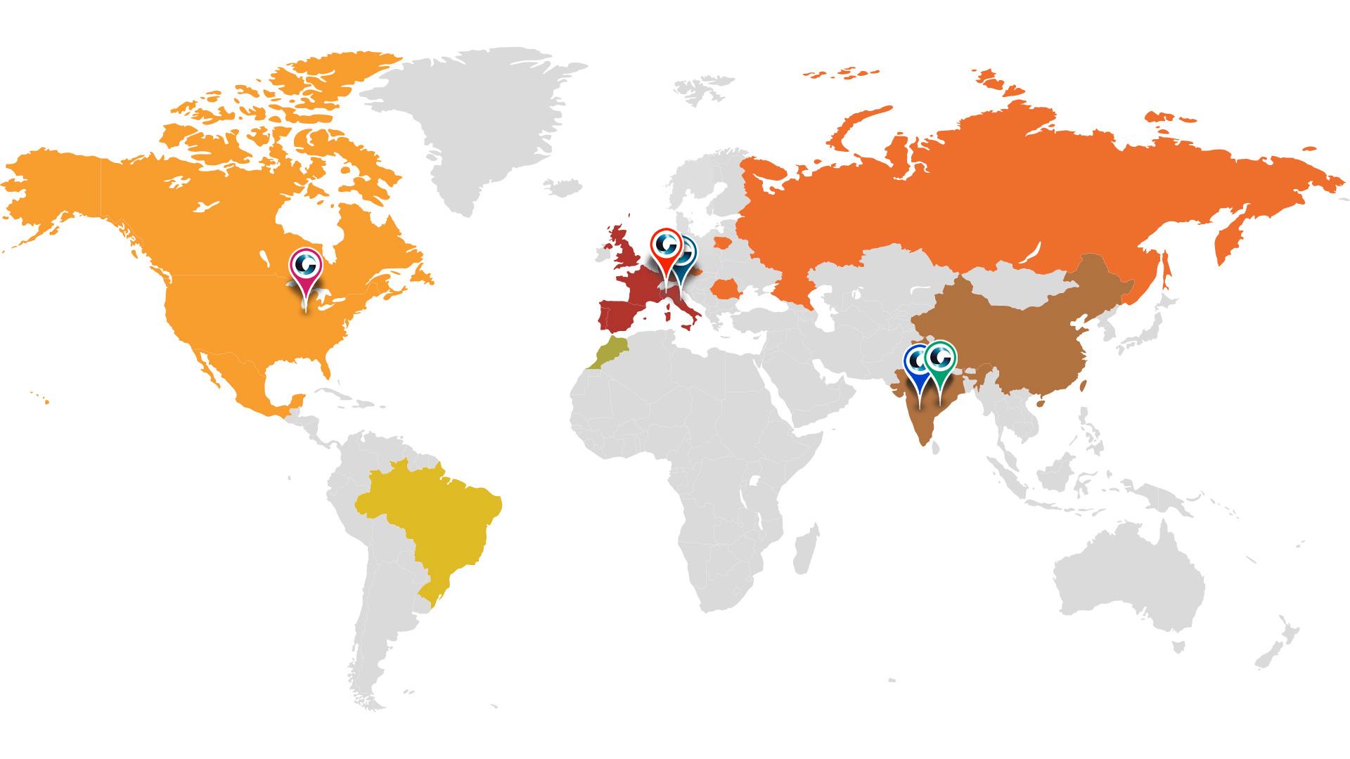 Mappa mondiale con le sedi